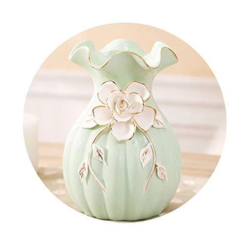 Pocket shop-Vase European Style Modern Fashion Home Furnishing Small Ceramic Vases Flower Desk Accessories Crafts Flower Pot Flowerpot,Green