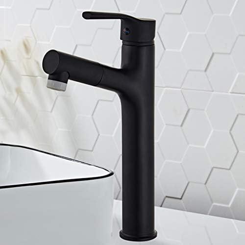 バスルームのシンクの蛇口、ブラックプルアウト浴室台所の蛇口、家庭用銅洗面台リトラクタブルシャンプー蛇口、デュアルモード水出口、回転バブラー (Color : B)