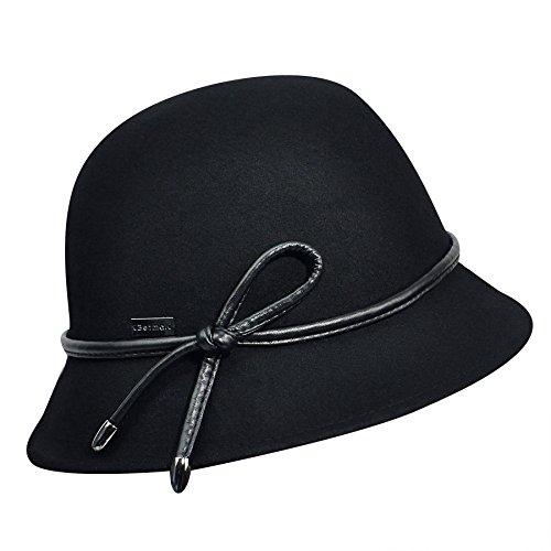 (Betmar Women's Cristina Felted Bucket Hat, Black, One Size)