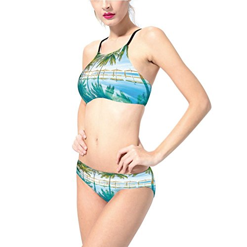 Swimsuit,Seasonal Eden Hot Sunny Humid Coastal Bay Photography,for Women