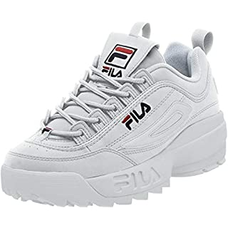 Fila mens Strada Disruptor fashion sneakers, White/Peacoat/Vinred, 10 US