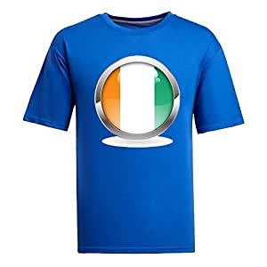 Custom Mens Cotton Short Sleeve Round Neck T-shirt, Printed with World Cup Images blue by runtopwell