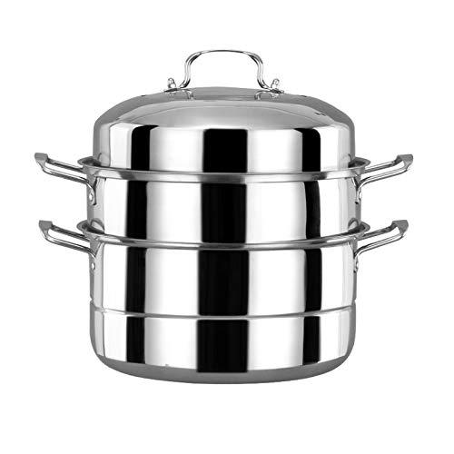 Beeiee 11.2-Inch Diameter 3 Tier Stainless Steel Double Boiler and Steamer Set Steamer Cookware Pot Saucepot Multi-layer Boiler