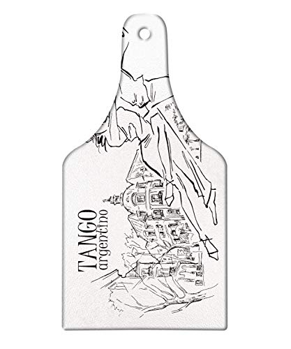Lunarable Argentina Cutting Board, Hand-drawn Sketch of Tango Dancers with City Background Tango Argentino Text, Decorative Tempered Glass Cutting and Serving Board, Wine Bottle Shape, Black and White