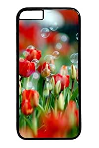 iphone 6 plus Case,Tulips And Bubbles Custom PC Hard Case Cover for iphone 6 plus 5.5 inch Black