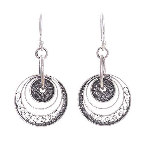 (NOVICA .925 Sterling Silver Filigree Round Dangle Earrings, Dark Parallel Worlds' )