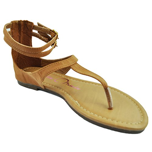 Women T-Strap Flat Sandals Ankle Strap Closed Back Clip Toe Thong Flip Flop Beach Shoes Taupe 6.5