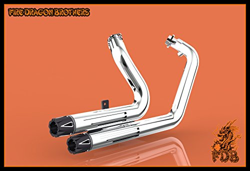 Chrome or Matte Black Dual Exhaust System Slip On Muffler Pipe with CNC Tip for 2004 2005 2006 2007 2008 2009 2010 2011 2012 2013 Harley Sportster XL883 XL1200 Iron 883 48 72 (Chrome+Tip 1) by Protek Sports (Image #7)