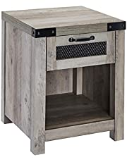 ROCKPOINT End Table with Industrial Style Drawer,Grey Wash