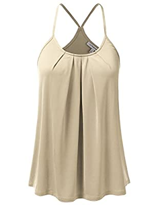 JJ Perfection Womens Casual Front Pleated Cami Tank Top