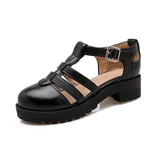 Mujeres con Tacón Mini Hebilla Sandalias Metal Negro Puntera AllhqFashion Cerrada Sólido TwIdxxqP8