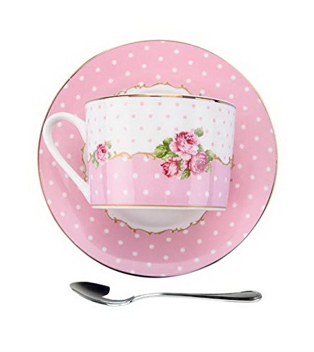 Gentle Meow British-Style Gold-Rimmed Coffee Cup Set with Saucer Steel Spoon, Pink Wave ()
