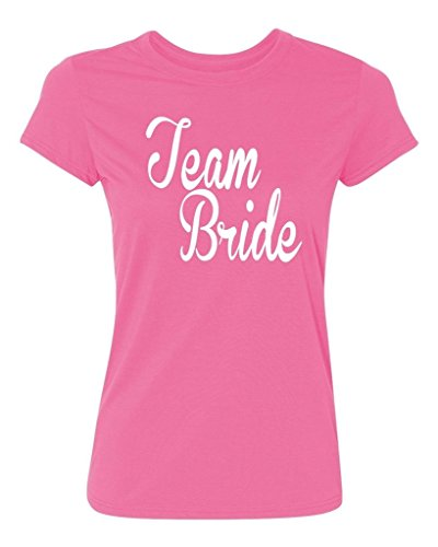 Bride Womens Pink T-shirt - P&B Bridesmaids Team Bride Women's T-Shirt, S, Azalea Pink