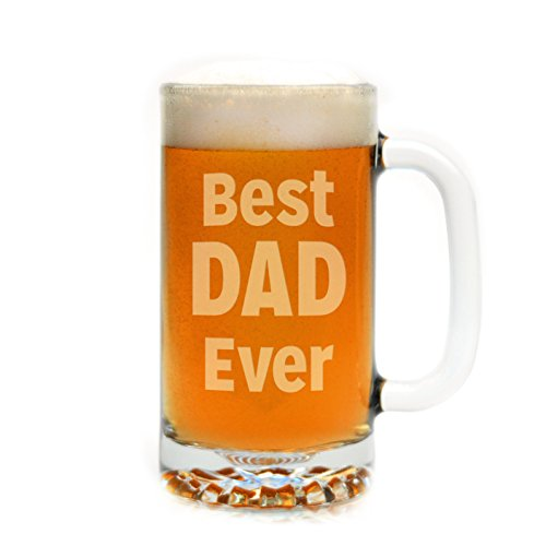 Engraved Best Dad Ever Beer Mug by Glass With a Twist