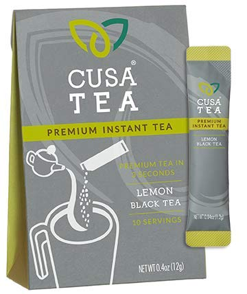 Lemon Black Tea by Cusa Tea - Cold Brew Tea - Premium Organic Instant Tea - USDA Organic Certified Tea and Real Lemon Fruit - Zero Sugar, Preservatives or Flavorings (10 servings)