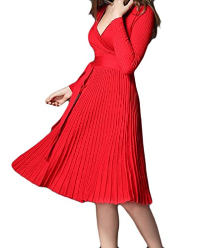 Knit Coolred Dresses Pure Women Color Pleated Evening Red Hipster Swing qqIAHanwC