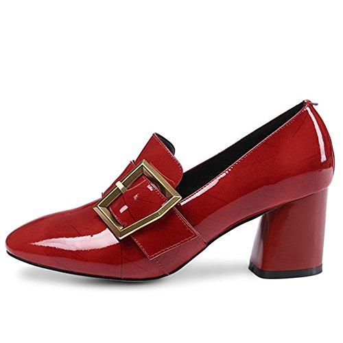 Nine Seven Cuero Moda Puntera Cuadrada Zapatos de Tacón Grueso con Hebilla para Mujer Rojo