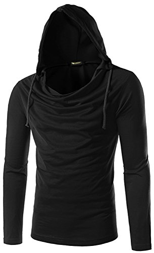 Whatlees Unisex Work Out Long Sleeve Wrinkled Neck Solid Cotton Gym Pullover Hoodie Shirts B093-Black-XL