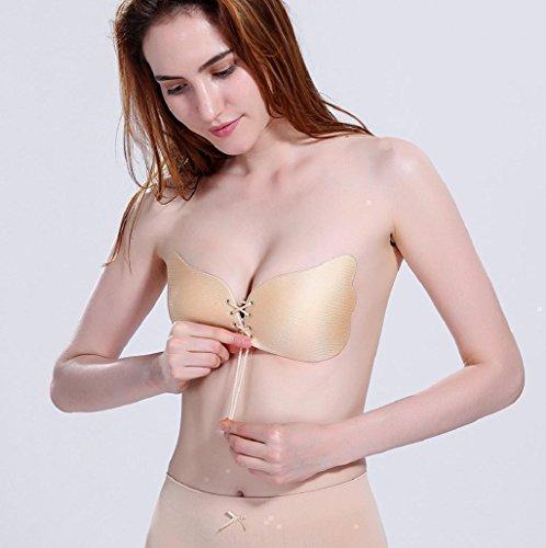 Sannysis Lencería Mujer auto-adhesivo Push Up invisible sujetadors Caqui