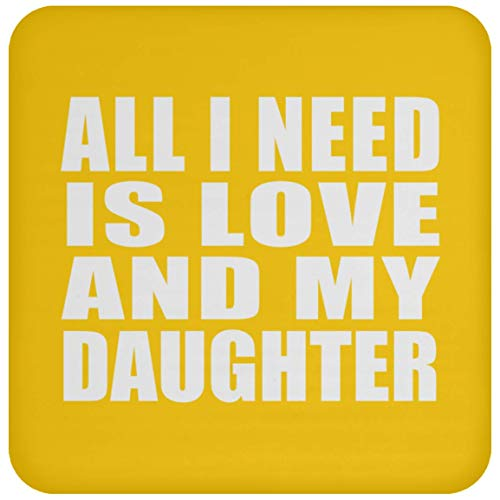 d is Love and My Daughter - Drink Coaster Athletic Gold/One Size, Non Slip Cork Back Protective Mat, Best Gift for Birthday Christmas Anniversary ()
