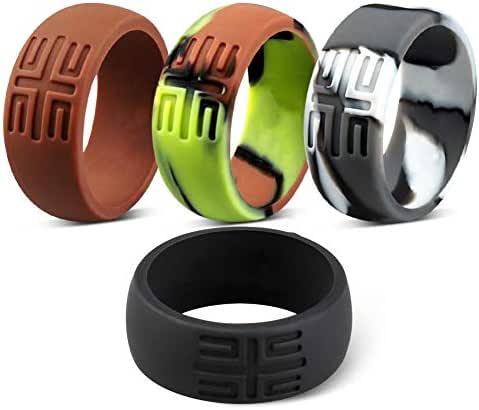 YesFit Silicone Ring for Men,2019 Newest Wedding Bands,Single/2 Pack/4 Pack,Comfortable with Pure Colors,Black,Dark-Grey,Camo,Navy-Blue Rings