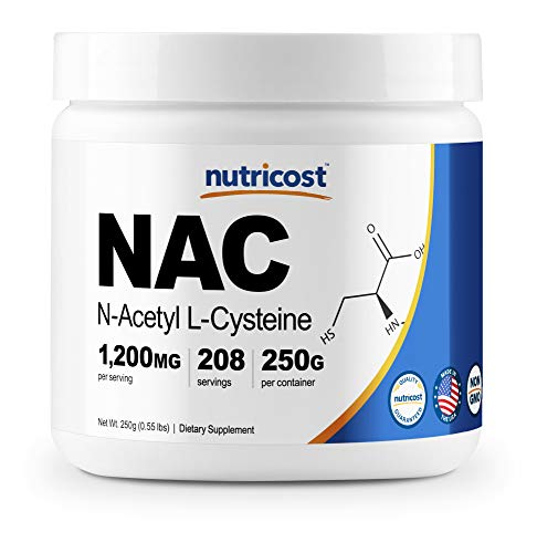 Nutricost N-Acetyl L-Cysteine (NAC) Powder 250 Grams - Vegan NAC, Non-GMO, Made in The USA, 208 Servings
