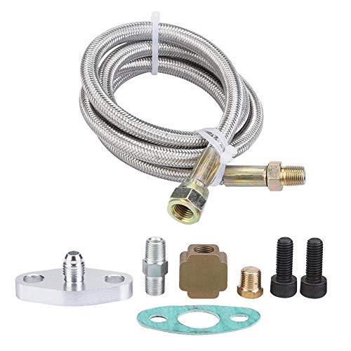 Supply Oil Line - Keenso CNC machined aluminum 36inch Turbo Oil Return Drain Line Kit Supply Complete Kit for T3 T4 T3/T4
