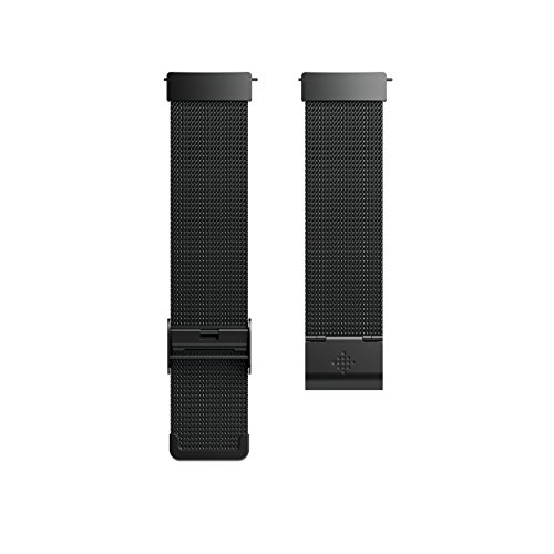 Fitbit Versa Family Accessory Band, Official Fitbit Product, Stainless Steel Mesh, Black, One Size