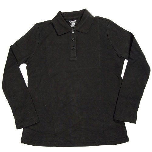 French Toast School Uniform Girls Long Sleeve Polo with Picot Collar, Black, 5 by French Toast (Image #1)