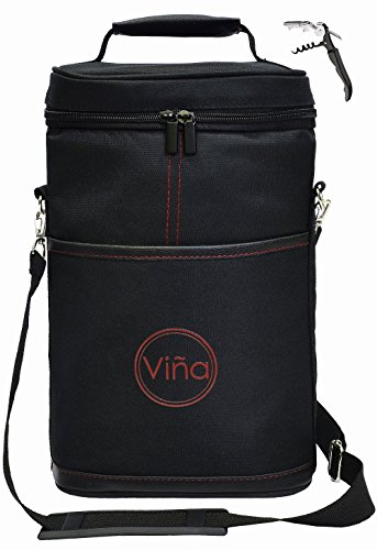 Vina 2 Bottle Wine Tote Carrier, Portable Insulated Carrying Bag Wine Holder with Adjustable Shoulder Strap + Corkscrew - Great Gift, Perfect for Travel, Beach Day 2 Bottle Wine Holder