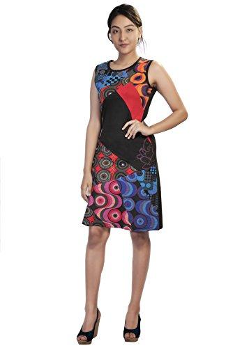 Vestido de las mujeres del verano sin mangas con colorido Círculo de impresión y Patch Diseño Multicolor