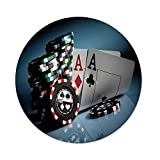 iPrint Polyester Round Tablecloth,Poker Tournament Decorations,Gambling Chips and Pair Cards Aces Casino Wager Games Hazard,Multicolor,Dining Room Kitchen Picnic Table Cloth Cover,for Outdoor Indoor