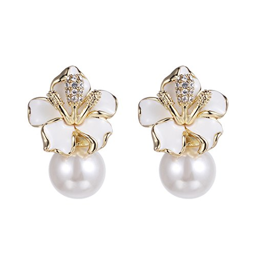 XZP Simulated Pearl White Flower Stud Earrings for Women Gold Plated Jewelry