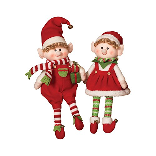 Holiday Elves (Gerson 17.5 in. Plush Elf Shelf Sitters - Set of 2)