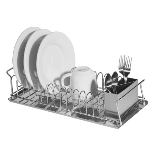 Oggi 3-Piece Dish Drain Set with Stainless Steel Utensil Caddy & Drip Tray. ()