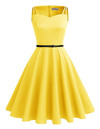 ALAGIRLS 1950s Vintage Retro Rockabilly Polka Dots Dress Party Cocktail Dresses Yellow XL (Top Dresses Sweetheart)