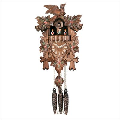Musical Cuckoo Clock with Five Leaves, One Bird and Painted Flowers Design