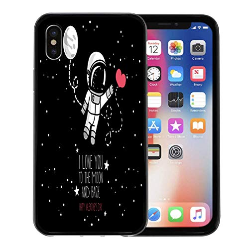 (Semtomn Phone Case for Apple iPhone Xs case,Cute Astronaut Heart Moon and Stars Floating in Space for Love Hand Valentine Day Cosmic for iPhone X Case,Rubber Border Protective Case,Black)