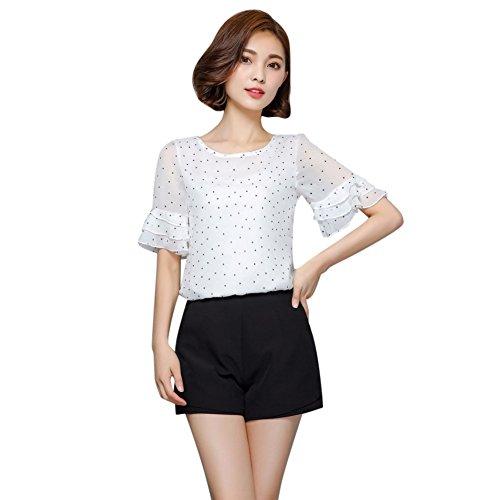 EFINNY Women Dot Printed Chiffon Shirts Short Sleeve Summer T-Shirt Blouse Tops
