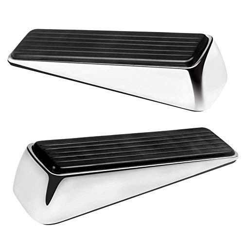 Dor Stopper | 2pcs Door Stopper Steel Wedge Works On All Floor Surface to Hold Any Doors and Prevent Scratching | Durable Odorless Black Anti-Skid Rubber Silver Metal Body | 1480.1 -