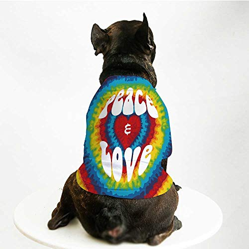 YOLIYANA 70s Party Decorations Soft Pet Suit,Peace and Love Groovy Tie Dye Heart Shaped Abstract Hippie Rainbow Decorative for Cats and Dogs,S -