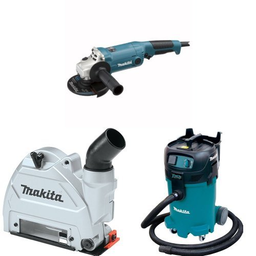 Makita GA5020Y 5-Inch Angle Grinder with Super Joint System  with Makita 196846-1 Dust Extracting Tuck Point Guard, 5 inch with Makita VC4710 12-Gallon Wet/Dry Vacuum