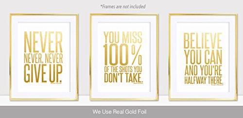 Motivational Inspirational (3-Set) Gold Foil Art Teen Boy Girl Famous Quotes Sports Wall Art Posters Decorative Prints Decor Home Office Business Classroom Dorm Gym Entrepreneur Workout Fitness (8x10) -