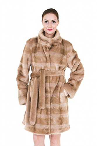 Classic Womens Mink Coat (Adelaqueen Clearance Women's Striped Mink Faux Fur Coat with Faux Fur Belt Light Brown Size XL)