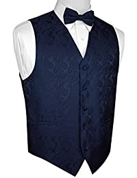Brand Q Men's Formal Tuxedo Vest & Bow-Tie Set in Navy Paisley