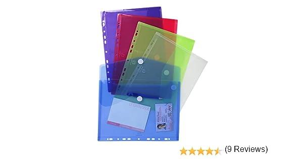 Exacompta 57380E - Bolsa de 5 fundas con multitaladros y forma de sobre, A4, multicolor: Amazon.es: Oficina y papelería