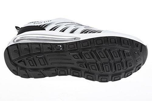 gibra® Zapatos de deporte hombre, muy ligera y cómoda, color blanco/negro, talla 47–