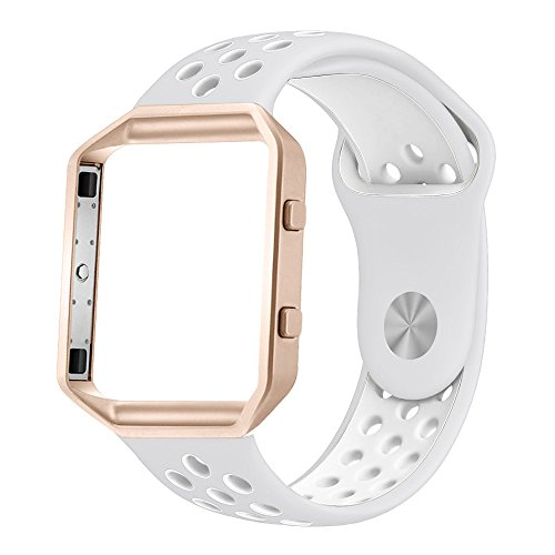 Small Sky Blue Band+Rose Gold Frame Simpeak Sport Band Compatible with Fitbit Blaze Smartwatch Sport Fitness Silicone Wrist Band with Meatl Frame Replacement for Fitbit Blaze Men Women