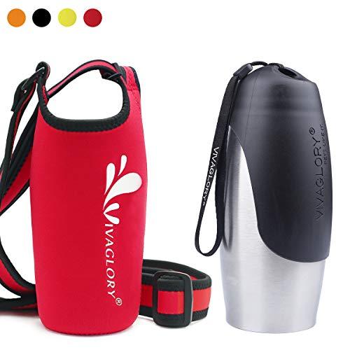 Vivaglory 25oz Stainless Steel Dog Walking Water Bottle and Red Neoprene Water Bottle Holder with Adjustable Wide Shoulder - Bottle Dog
