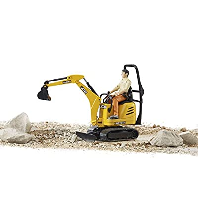 Bruder Jcb Micro Excavator 8010 Cts and Construction Worker (Colors May Vary): Toys & Games